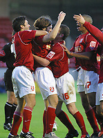 Photo: Dave Linney.<br />Walsall v Gillingham. Coca Cola League 1. 12/11/2005.<br />Eric Skora (Centre)on loan from Preston scores for Walsall