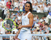 Tennis - 2019 Wimbledon Championships - Week One, Tuesday (Day Two)<br /> <br /> Women's Singles, 1st Round: Serena Williams (USA) v Giulia Gatto - Monticone (ITA)<br /> <br /> Giulia Gatto - Monticone  sheds a tear after defeat on Centre Court <br /> <br /> COLORSPORT/ANDREW COWIE