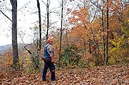 A hunter waits along a roadside for his hunting dogs to trap a bear, Pisgah National Forest, North Carolina