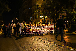 October 31, 2018 - Athens, Attica, Greece - Demonstration at night against austerity and for worker's rights in Athens on October 31, 2018  (Credit Image: © Wassilios Aswestopoulos/NurPhoto via ZUMA Press)