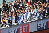 Millwall players celebrate with the League 1 Play off trophy. EFL Skybet football league one play off final match, Bradford city v Millwall at Wembley Stadium in London on Saturday 20th May 2017.<br /> pic by Steffan Bowen,  Andrew Orchard sports photography.