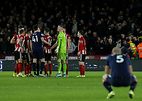 Referee Michael Oliver chats to players while a goal is checked by VAR<br /> <br /> Photographer Rich Linley/CameraSport<br /> <br /> The Premier League - Sheffield United v West Ham United - Friday 10th January 2020 - Bramall Lane - Sheffield <br /> <br /> World Copyright © 2020 CameraSport. All rights reserved. 43 Linden Ave. Countesthorpe. Leicester. England. LE8 5PG - Tel: +44 (0) 116 277 4147 - admin@camerasport.com - www.camerasport.com