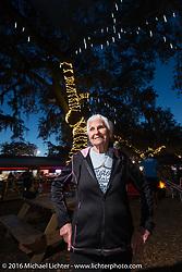 Still riding as a nonagenarian (90 year old,) Gloria Struck at the Broken Spoke Saloon during Daytona Bike Week 75th Anniversary event. FL, USA. Wednesday March 9, 2016.  Photography ©2016 Michael Lichter.