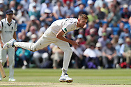Oliver Hannon-Dalby of Warwickshire bowling during the Specsavers County Champ Div 1 match between Yorkshire County Cricket Club and Warwickshire County Cricket Club at York Cricket Club, York, United Kingdom on 18 June 2019.