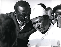 Dec. 12, 1971 - President Idi Amin during the celebrations chets with President Tolbort of Liberia. Alhaji general idi amin dada, dc, dso, mc, president of uganda. born 1920, west Nilc, Uganda. Jeined king's African rifles, 1946. effendi, 1959. commissioned, 1961. major, 1963. colonel, 1964. deputy commander of the Uganda army, 1964. commander of the army, 1966. head of state ofter coup of 1971. picture by camerapix, Nairobi. (Credit Image: © Keystone Pictures USA/ZUMAPRESS.com)