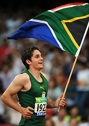 Sep 12, 2008 - Beijing, China - FANIE VAN DER MERWE of South Africa celebrates after the men's 100m - T37 final at the National Stadium also known as the Bird's Nest during the Beijing 2008 Paralympic Games in Beijing. Fanie van der Merwe won the title with 11.83 secs (Credit Image: Xinhua/ZUMAPRESS.com)