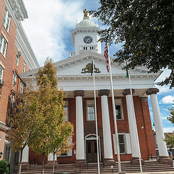 Chambersburg, PA, USA - September 14, 2014: The Franklin County Courthouse, built in 1865, replaced the one burnt by Confederate forces Civil War.