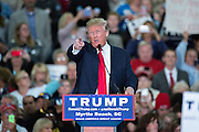 Republican presidential candidate billionaire Donald Trump points to the media riser during an attack on the reporters at a campaign rally at the Myrtle Beach Convention Center November 24, 2015 in Myrtle Beach, South Carolina.
