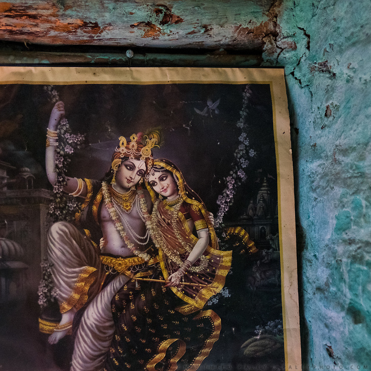 Old posters illustrating Hindu gods and godesses.