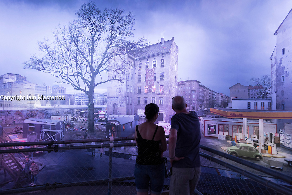 Panorama painting by artist Yadegar Asisi recreating the Berlin Wall at East German border in Berlin Germany