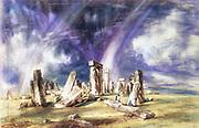 Stonehenge' c1835:   John Constable (1776-1837) English landscape painter.Watercolour.