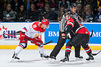 KELOWNA, CANADA - NOVEMBER 9: Radel Fazleev #19 of Team Russia faces off against Mathew Barzal #13 of Team WHL on November 9, 2015 during game 1 of the Canada Russia Super Series at Prospera Place in Kelowna, British Columbia, Canada.  (Photo by Marissa Baecker/Western Hockey League)  *** Local Caption *** Radel Fazleev; Mathew Barzal;
