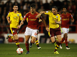 Nelson Oliveira of Nottingham Forest (L) and Michael Duff of Burnley in action - Mandatory byline: Jack Phillips / JMP - 07966386802 - 20/10/2015 - FOOTBALL - The City Ground - Nottingham, Nottinghamshire - Nottingham Forest v Burnley - Sky Bet Championship