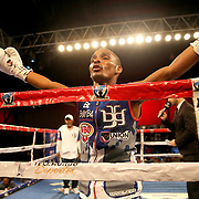 Jonathan Gonzalez is seen during introductions prior to his match against Richard Rodriguez during a Telemundo boxing match between at Osceola Heritage Park on Friday, February 23, 2018 in Kissimmee, Florida.  (Alex Menendez via AP)