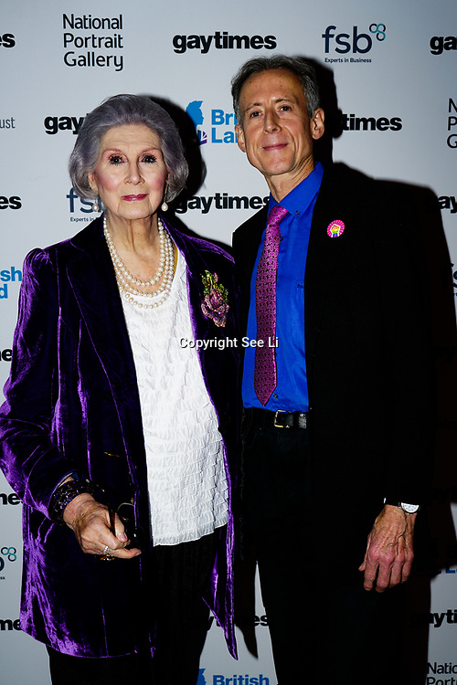 April Ashley, Peter Tatchell attend the Gay Times Honours on 18th November 2017 at the National Portrait Gallery in London, UK.