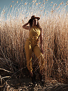 Fashion Shoot and Model Test at the Desert National Wild Life Refuge, playing with golds, auberns, grass, tans, and browns, with beautiful mountain ranges . Shot on Fujifilm's medium format  GFX 50s system.