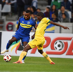 Cape Town-180818 Cape Town City midfielder Ayanda Patosi challenged  by Nduduzo Sibiya  of Golden Arrows in a PSL match at Cape Town Stadium .photograph:Phando Jikelo/African News Agency/ANA