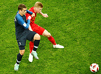 SAINT PETERSBURG, RUSSIA - JULY 10: Antoine Griezmann (L) of France national team and Kevin De Bruyne of Belgium national team vie for the ball during the 2018 FIFA World Cup Russia Semi Final match between France and Belgium at Saint Petersburg Stadium on July 10, 2018 in Saint Petersburg, Russia. MB Media