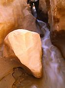 Fluted boulder where Willis Creek begins diving into a slot canyon, Grand Staircase-Escalante National Monument, Colorado Plateau, Utah.