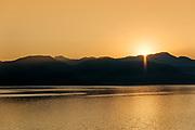 Sunrise over coastal mountain range, Montenegro.