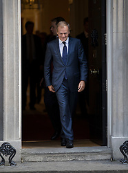 © Licensed to London News Pictures. 08/09/2016. London, UK. President of the European Council, Donald Tusk leaves Downing Street after meeting with Prime Minister Theresa May.  Photo credit: Peter Macdiarmid/LNP