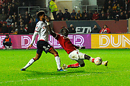 Famara Diedhiou (9) of Bristol City is unable to get a good contact on the ball and misses a goal scoring chance during the The FA Cup fourth round match between Bristol City and Bolton Wanderers at Ashton Gate, Bristol, England on 25 January 2019.