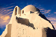 Paraportiani Greek Orthodox churches of Mykanos Chora, Cyclades Islands, Greece .<br /> <br /> Visit our GREEK HISTORIC PLACES PHOTO COLLECTIONS for more photos to download or buy as wall art prints https://funkystock.photoshelter.com/gallery-collection/Pictures-Images-of-Greece-Photos-of-Greek-Historic-Landmark-Sites/C0000w6e8OkknEb8