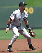 Boston Red Sox John Valentin during game action against the Kansas City Royals at Kauffman Stadium in Kansas City, Missouri in 1997.
