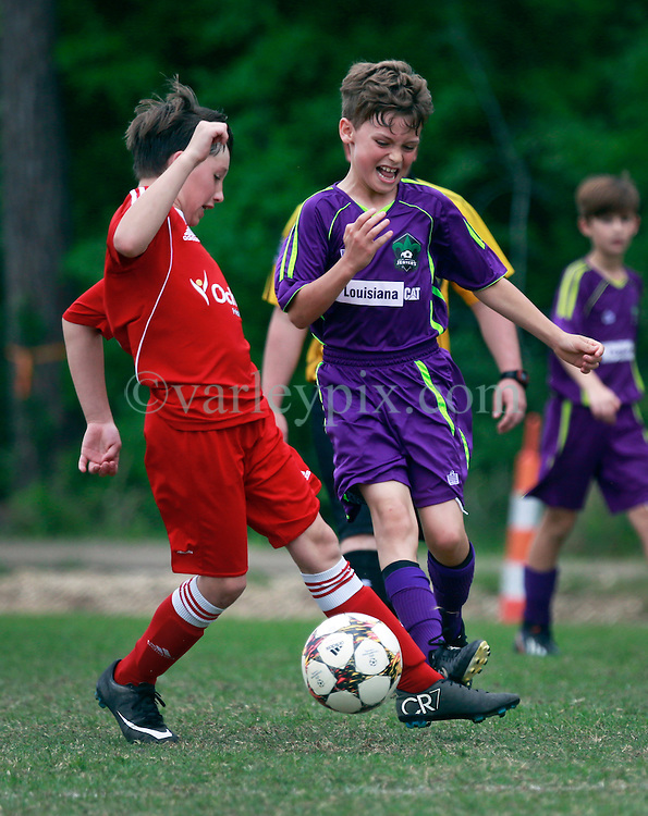 11 April 2015. Hammond, Louisiana.<br /> U10 New Orleans Jesters Elites, team green play MP U10-Rodolfo. Jesters lose 2-3 in the second round of the Strawberry Cup hosted by the South Tangipahoa Youth Soccer Association (STYSA).<br /> Photo; Charlie Varley/varleypix.com
