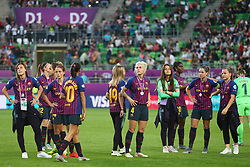 May 18, 2019 - Budapest, Hungary - FC Barcelona players dejected..during the UEFA Women's Champions League Final between Olympique Lyonnais and FC Barcelona Women at Groupama Arena on May 18, 2019 in Budapest, Hungary  (Credit Image: © Action Foto Sport/NurPhoto via ZUMA Press)