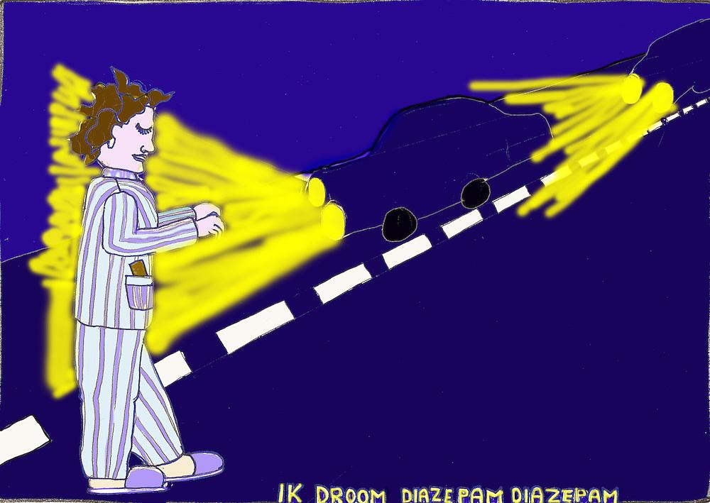 Driebergen, 23  febr  2009.illustratie met de gezondheidszorg als thema. Slaap wandelende man in gevaarlijke situatie door het slikken van slaapmiddelen.  . Foto: (c) Renee Teunis