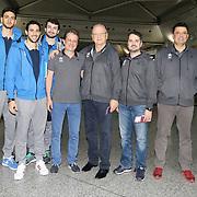Turkish Basketball team Anadolu Efes's players seen during their Ataturk Airport in Istanbul Turkey on Wednesday 25 November 2015. Photo by Kurtulus YILMAZ/TURKPIX