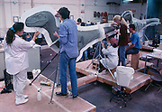 At Stan Winston Studios outside L.A. in Van Nuys, CA., the dinosaurs, like this Velociraptor for Steven Spielberg's action epic, Jurassic Park are created.  Stan is one of Hollywoods most innovative character creators.
