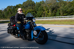 John Bartman riding his 1940 Harley-Davidson ULH Flathead in the Cross Country Chase motorcycle endurance run from Sault Sainte Marie, MI to Key West, FL (for vintage bikes from 1930-1948). Stage 4 saw a 315 mile ride from Urbana, IL to Bowling Green, KY USA. Monday, September 9, 2019. Photography ©2019 Michael Lichter.