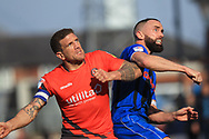 Aaron Wilbraham challenges for the ball  during the EFL Sky Bet League 1 match between Rochdale and Wycombe Wanderers at Spotland, Rochdale, England on 19 April 2019.