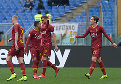 January 19, 2019 - Rome, Italy - Nicolò Zaniolo celebrates with Justin Kluivert after scoring goal 1-0 during the Italian Serie A football match between A.S. Roma and F.C. Torino at the Olympic Stadium in Rome, on january 19, 2019. (Credit Image: © Silvia Lore/NurPhoto via ZUMA Press)