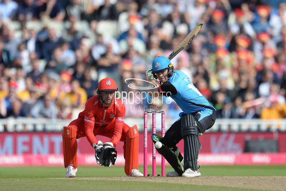 Ben Cox of Worcestershire Rapids batting during the Vitality T20 Finals Day Semi Final 2018 match between Worcestershire Rapids and Lancashire Lightning at Edgbaston, Birmingham, United Kingdom on 15 September 2018.
