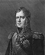 Michel Ney (1769-1815) French soldier. One of Napoleon's marshals.  Led the French centre at the battle of Baterloo. Condemned to death for high treason and shot. Wood engraving.
