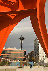 "North America, United States, Washington, Seattle.  Seattle Art Museum's Olympic Sculpture Park. ""Eagle"" sculpture by Alexander Calder, and Seattle Space Needle."