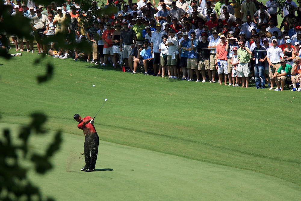 12 August 2007: Tiger Woods hits his 2nd shot on the 4th hole during the final round of the 89th PGA Championship at Southern Hills Country Club in Tulsa, OK.