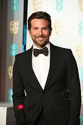 Bradley Cooper is seen arriving at the BAFTA Awards in London.<br /><br />10 February 2019.<br /><br />Please byline: Vantagenews.com