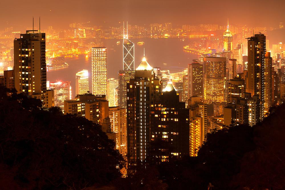 Panoramic view of Hong Kong bay at night, Hong Kong, China