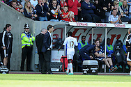 Swansea city's Nathan Dyer walks past his manager Michael Laudrup after being sent off.  Barclays Premier league, Swansea city v Everton at the Liberty stadium in Swansea, South Wales on Sat 22nd Sept 2012.   pic by  Andrew Orchard, Andrew Orchard sports photography,