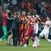 Galatasaray's Coach Hamza Hamzaoglu (3ndL) during their Turkish Super League derby match Galatasaray between Besiktas at the AliSamiYen Spor Kompleksi TT Arena at Seyrantepe in Istanbul Turkey on Sunday, 24 May 2015. Photo by Aykut AKICI/TURKPIX
