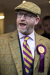 © Licensed to London News Pictures . 28/01/2017 . Stoke-on-Trent , UK . PAUL NUTTALL speaks from the doorway of the newly opened shop . UKIP formally launch their campaign in the by-election in the constituency of Stoke-on-Trent Central , at their new campaign shop at 1 Piccadilly in Stoke , with candidate - and party leader - Paul Nuttall . The seat was vacated when Tristram Hunt resigned . Photo credit : Joel Goodman/LNP