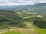 The winding road to Zhongdian (Shangri-La), Yunnan Province, China.