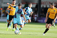 Joe Jacobson of Wycombe Wanderers (3) in action. EFL Skybet football league two match, Newport county v Wycombe Wanderers at Rodney Parade in Newport, South Wales on Saturday 9th September 2017.<br /> pic by Andrew Orchard, Andrew Orchard sports photography.