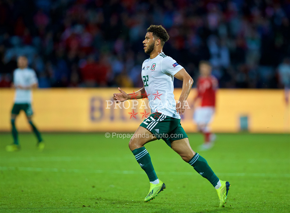 AARHUS, DENMARK - Sunday, September 9, 2018: Wales' Tyler Roberts during the UEFA Nations League Group Stage League B Group 4 match between Denmark and Wales at the Aarhus Stadion. (Pic by David Rawcliffe/Propaganda)