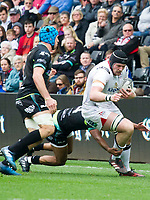 Rugby Union - 2016 / 2017 Guinness Pro12 - Ospreys vs. Ulster<br /> <br /> Kieran Treadwell of Ulster tackled by Keelan Giles of Ospreys, at Liberty Stadium.<br /> <br /> COLORSPORT/WINSTON BYNORTH