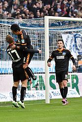13.12.2014, Allianz Arena, München, GER, 2. FBL, TSV1860 Muenchen vs Karlsruher SC, 17. Runde, im Bild Rouwen Hennings (Karlsruher SC), Hiroki Yamada (Karlsruher SC), Ilian Micanski (Karlsruher SC), v.li. Jubel, // during the 2nd German Bundesliga 17th round match between TSV1860 Muenchen and Karlsruher SC at the Allianz Arena in München, Germany on 2014/12/13. EXPA Pictures © 2014, PhotoCredit: EXPA/ Eibner-Pressefoto/ Buthmann<br /> <br /> *****ATTENTION - OUT of GER*****